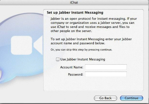 Jabber Welcome Screen