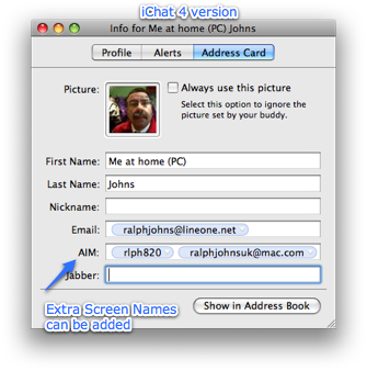 IChat4 Addresss Card